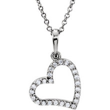 """Beautiful 14Kt white gold heart necklace features a single white shimmering diamond with 1/8 carats hanging from a 16"""" inch cable chain which is included."""
