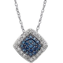 Striking and so classic, this colored diamond pendant necklace aims to please. Crafted from 14k white gold, this pendant features a cluster of blue diamonds framed by a halo of white diamonds. Featuring around a half carat (1/6 ct) of diamond dazzle emanating from 19 blue diamonds and its halo of 20 white diamonds, this fancy blue and white diamond halo pendant glitters off of its sturdy 18 inch matching gold chain.