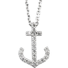 For a nautical adventurous look, the designer crafted diamond necklace following an anchor outline. Starting with a base of white, yellow or rose gold, this necklace is embedded with twenty-two round diamonds (1/8 carat) that follow the arms of the anchor all the way up to their tops. A fine display of craft and jewel fantasy.