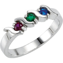 Honor Mom and celebrate family with this unique and modern Mother's ring! Crafted in sterling silver, this traditionally styled ring showcases between two and five round-cut imitation birthstones you select. Arranged horizontally across the band, these prong-set gemstones grab the eye with color and sparkle. See stone chart for options and placement details. Buffed to a brilliant luster, this ring is one Mom will choose to wear often.