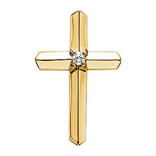 Let your faith shine! Expertly crafted in warm 14K Yellow Gold, this traditional cross pendant measures 21.50x14.00mm and has a bright polish to shine.