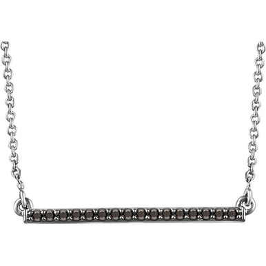 Raise the fashion bar with this elegant and eye-catching necklace. Expertly crafted In 14K white gold, this straight bar-shaped design features shimmering sparkling red diamonds. A simple-yet-sophisticated look she's certain to adore, this necklace captivates with 1/6 ct. t.w. of diamonds and a polished shine. The look suspends centered along an 18.00-inch chain that secures with a lobster clasp.