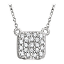 "Diamond Square Cluster 18"" Necklace, this dazzling diamond pendant complements any attire. Fashioned of sparkling 14k gold, the pendant features 21 round cut diamonds. The square shape adds a sophisticated element to this gorgeous 1/6ctw diamond piece."