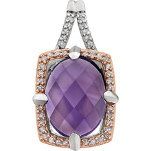 An enchanting amethyst, the birthstone of February, is the centerpiece of this eye-catching pendant for her. The oval-shaped gemstone is set in 14K Rose Gold Plated/Sterling Silver.