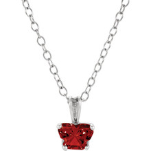 "Perfect for your little one, this 14K white gold 14"" necklace is designed with one butterfly-shaped garnet-colored cubic zirconia stone."