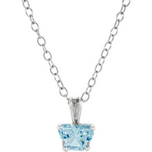 "Perfect for your little one, this 14K White gold 14"" necklace is designed with one butterfly-shaped aquamarine-colored cubic zirconia stone."