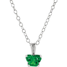 "Perfect for your little one, this 14K White Gold 14"" necklace is designed with one butterfly-shaped emerald-colored cubic zirconia stone."