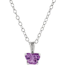 "Perfect for your little one, this 14K White Gold 14"" necklace is designed with one butterfly-shaped alexandrite-colored cubic zirconia stone."
