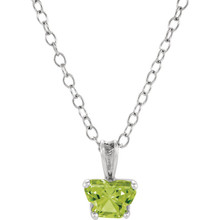 "Perfect for your little one, this 14K White Gold 14"" necklace is designed with one butterfly-shaped peridot-colored cubic zirconia stone."