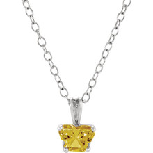 "Perfect for your little one, this 14K White Gold 14"" necklace is designed with one butterfly-shaped citrine-colored cubic zirconia stone."