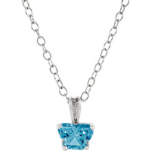 "Perfect for your little one, this 14K White Gold 14"" necklace is designed with one butterfly-shaped blue topaz-colored cubic zirconia stone."