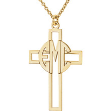 Make your faith personal with this stylish monogram fashion pendant. Created in warm 10K gold, this cut-out cross pendant can be customized with the three initials of your choice, sculpted in a bold block monogram font. Enter the initials in the order you would like them, left to right (the center initial will be larger as shown.) Polished to a bright shine, the pendant suspends along an 16.0 or 18.0-inch rope chain that secures with a spring-ring clasp.