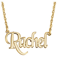 Elegant and feminine, treat her to this eye-catching, on-trend monogram nameplate necklace. Created in precious 14K Yellow Gold/Sterling Silver, this stylish rope chain necklace is centered with a 14.00x34.00mm monogram charm. A look she'll turn to time after time, this necklace is polished to a brilliant shine and secures with a spring-ring clasp.