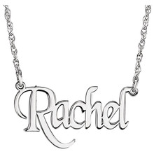 Elegant and feminine, treat her to this eye-catching, on-trend monogram nameplate necklace. Created in precious 14K white gold, this stylish rope chain necklace is centered with a 14.00x34.00mm monogram charm. A look she'll turn to time after time, this necklace is polished to a brilliant shine and secures with a spring-ring clasp.