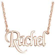 Elegant and feminine, treat her to this eye-catching, on-trend monogram nameplate necklace. Created in precious 14K Rose Gold, this stylish rope chain necklace is centered with a 14.00x34.00mm monogram charm. A look she'll turn to time after time, this necklace is polished to a brilliant shine and secures with a spring-ring clasp.
