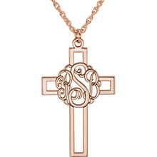 Make your faith personal with this stylish monogram fashion pendant. Created in warm 14K rose gold, this 29x19mm cross pendant can be customized with the three initials of your choice. Enter the initials in the order you would like them, left to right (the center initial will be larger as shown.) Polished to a bright shine, the pendant suspends along an 16.0 or 18.0-inch rope chain that secures with a spring-ring clasp.