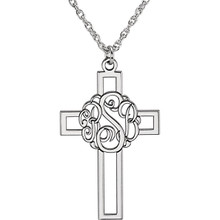 Make your faith personal with this stylish monogram fashion pendant. Created in warm 14K white gold, this 29x19mm cross pendant can be customized with the three initials of your choice. Enter the initials in the order you would like them, left to right (the center initial will be larger as shown.) Polished to a bright shine, the pendant suspends along an 16.0 or 18.0-inch rope chain that secures with a spring-ring clasp.