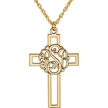 Make your faith personal with this stylish monogram fashion pendant. Created in warm 14K yellow gold/sterling silver, this 29x19mm cross pendant can be customized with the three initials of your choice. Enter the initials in the order you would like them, left to right (the center initial will be larger as shown.) Polished to a bright shine, the pendant suspends along an 16.0 or 18.0-inch rope chain that secures with a spring-ring clasp.