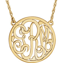Give her a classic necklace that is personal and individual for her. Fashioned in yellow gold/sterling silver, a circle frames three initials of your choice, in an elegant flowing script monogram font. Enter the initials in the order you would like them. Polished to a bright shine, the pendant suspends on a rope chain that secures with a spring-ring clasp.