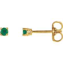 Straightforward in design and unmatched with color, these round-shaped emerald stud earrings are ideal for everyday wear. Brilliant green hues shine through as the 2.5mm gemstones are cradled in four-prong settings. Each eye-catching earring rests on a 14K yellow gold post secured with a friction closure. Emerald is May's precious and romantic birthstone.