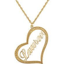 Make her day with a charming 10K yellow gold open heart pendant customized just for her. Perfect for everyday wear, her name, up to eight characters in length, is beautifully written in script-style letters diagonally across the center. The heart itself features a dotted border for extra shine. Designed to hang close to her heart, this style suspends from a 16.0 or 18.0-inch rope chain and secures with a spring-ring clasp. 10k yellow gold nameplate pendant approximately 30.0x33.0 millimeters.