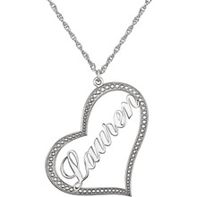 Make her day with a charming 14K white gold open heart pendant customized just for her. Perfect for everyday wear, her name, up to eight characters in length, is beautifully written in script-style letters diagonally across the center. The heart itself features a dotted border for extra shine. Designed to hang close to her heart, this style suspends from a 16.0 or 18.0-inch rope chain and secures with a spring-ring clasp. 14k white gold nameplate pendant approximately 30.0x33.0 millimeters.