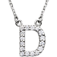 "The letter ""D"" Diamond charm suspended from a delicate 16"" diamond cut cable chain creates a personalized necklace in 14K Gold. Sparkling with 1/6 ct. t.w. of diamonds and a bright polished shine."