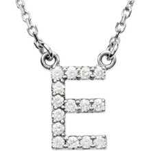 "The letter ""E"" Diamond charm suspended from a delicate 16"" diamond cut cable chain creates a personalized necklace in 14K Gold. Sparkling with 1/6 ct. t.w. of diamonds and a bright polished shine."