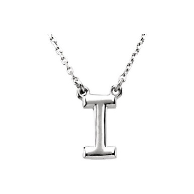 "This a 16"" block initial necklace in sterling silver offers a great look and flawless design. This delightful necklace will thrill and delight as the eye is drawn to it's exceptional luster."