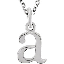 Casual and chic, a lower case initial necklace says a lot about your style. These 16-inch necklaces are available in 14kt white, yellow and rose gold.