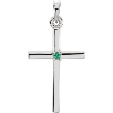 Embrace your faith with this stunning platinum emerald cross pendant. Emeralds are round diamond cut and AA in quality. Cross pendant is 22.65mm in length and 11.45mm in width. Polished to a brilliant shine.