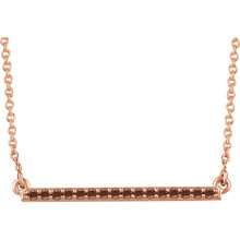 Raise the fashion bar with this elegant and eye-catching necklace. Expertly crafted In 14K rose gold, this straight bar-shaped design features shimmering sparkling diamonds. A simple-yet-sophisticated look she's certain to adore, this necklace captivates with 1/6 ct. t.w. of diamonds and a polished shine. The look suspends centered along an 18.00-inch chain that secures with a spring ring clasp.