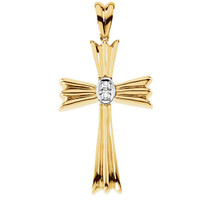 Keep your faith close to your heart by wearing this beautiful religious-style cross pendant featuring 2 round-cut diamonds of G-H color SI clarity. Wonderfully crafted in 14k Yellow Gold this necklace is of .066 total carat weight. Polished to a brilliant shine.