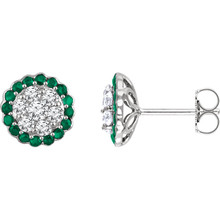 Pair of earrings with perfectly matching full cut round brilliant cut natural untreated conflict-free diamonds and a halo design outside of natural Emerald. Sold with backs. Tension posts. All prong set that gives these earrings a timeless look. For any age and made to wear for any occasion. Something to enjoy for a long time.