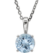 This gorgeous 14K white gold pendant features a 6mm round Genuine Aquamarine beautifully set in a prong setting.  Symbolize your love with this elegant March birthstone pendant!