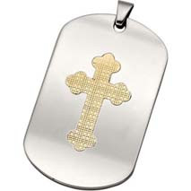 Elegant and Stylish 48x30mm 10K Steel Patterned Dog Tag Bale in Stainless Steel. Chain sold separately.
