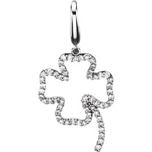 Diamond clover charm in 14k white gold. This diamond clover charm features 1/4 ct. tw. Diamonds are G-H in color and I1 or better in clarity. Polished to a brilliant shine.
