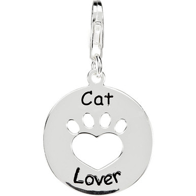 Heart U Back™ Cat Lover Paw Charm In Sterling Silver. The pendant is 19.89mm in size. The Heart U Back Collection of jewelry has been uniquely designed and created to express the heart-warming bond between pet and the pet owner. Polished to a brilliant shine.