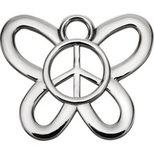 Butterfly Peace Sign Charm In Sterling Silver. Symbolic of change, butterflies are often associated with the renewal brought forth by the arrival of spring.