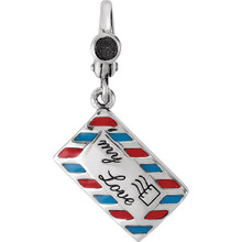 Start conversations wherever you go with a unique charm created to spark interest and reveal your individual style. This inscribed love letter fashioned from sterling silver and enamel features a detailed three-dimensional design that is approximately 17mm (5/8 Inch) in width by 21mm (13/16 inch) in length, which includes the decorative lobster style clip-on bail.