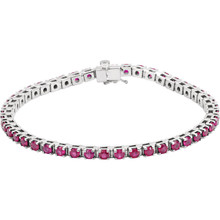 A timeless classic-look is found in this platinum bracelet featuring an array of 3mm rubies.