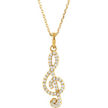 This beautiful 14K Solid Yellow Gold Genuine 1/4 ct. tw. Diamonds Treble Clef Style Necklace featuring 1/4 ct tw Round genuine Diamonds. It is set in brightly polished Solid 14K Yellow Gold on a Solid Cable Chain. The chain is 16 Inches long x 1.0 mm wide. It is a truly unique and a fantastic choice.