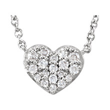 """Beautiful sterling silver heart necklace features white shimmering diamonds with 1/10 carats of diamonds hanging from a 18"""" inch chain which is included."""