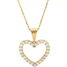 "The 1/4 ct. tw. diamond 18"" heart necklace in 14kt yellow gold showcases an enchanting design with a dash of flash. This necklace is sure to impress. Intricate design and amazing detail complemented by the 14kt yellow gold. This magnificent piece sparkles with shimmering diamond. 1/4 ct. This necklace undeniably a fashion-forward look and masterfully crafted with a bright polished shine."