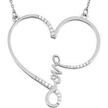 """This charming and romantic Diamond """"Love"""" Heart Infinity-Style 18"""" Necklace shows her that she is always in your heart. It has 23 shimmering 1/8 carat total weight diamonds and it is pictured here in white gold. She won't believe her eyes!"""