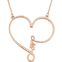 """This charming and romantic Diamond """"Love"""" Heart Infinity-Style 18"""" Necklace shows her that she is always in your heart. It has 23 shimmering 1/8 carat total weight diamonds and it is pictured here in rose gold. She won't believe her eyes!"""