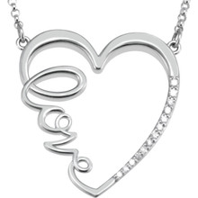 """This charming and romantic Diamond """"Love"""" Heart Infinity-Style 18"""" Necklace shows her that she is always in your heart. It has 13 shimmering 1/6 carat total weight diamonds and it is pictured here in rose gold. She won't believe her eyes!"""