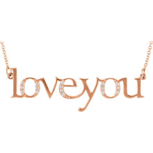 """Love You"" Chain Necklace featuring a 0.08 ct. tw. round genuine diamonds. It is a truly unique and a fantastic choice. Diamonds are G-H in color and I1 or better in clarity. The style suspends from an 18.00-inch cable chain and secures with a spring-ring clasp."
