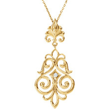 """Beautiful 14Kt yellow gold necklace features a white shimmering diamond with .03 carats hanging from a 18"""" inch chain which is included."""