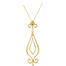 "Beautiful 14Kt yellow gold Fleur-De-Lis necklace features white shimmering diamonds with .08 carats of diamonds hanging from a 18"" inch chain which is included."